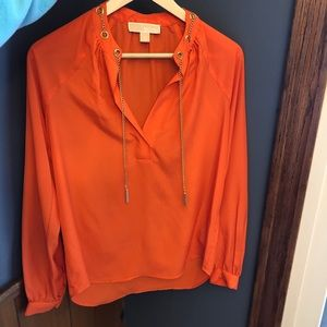 Michael Kors Orange Blouse with Chain Detail